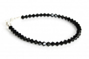 Sterling Silver & Sparkly Jet Black Crystals Handmade Bracelet Made With. ELEMENTS