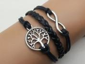Infinity & Tree of Life Bracelet Silver Cute Charm Bracelet Black Wax Cord Black Braided Leather cuff Bracelet 2549r