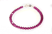 Sterling Silver & Sparkly Fuchsia Pink Crystals Handmade Bracelet Made With. ELEMENTS