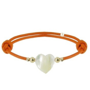 Les Poulettes Jewels - Bracelet Heart - Mother of Pearl and Gold Plated Pearls on Waxed Cord - Orange Colour Cord