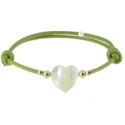 Les Poulettes Jewels - Bracelet Heart - Mother of Pearl and Gold Plated Pearls on Waxed Cord - Green Colour Cord