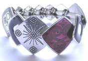 Diamond Shaped Gradiated Silver Coloured Metal With Purple Detail Stretch Bracelet