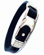 Jewellery Of The Planet Mans Urban Black Leather Bracelet With Half Moon Buckle