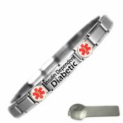 Insulin Dependent Diabetic Medical Alert Nomination Style Stainless Steel Bracelet