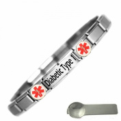Diabetic Type 1 Medical Alert Nomination Style Stainless Steel Bracelet