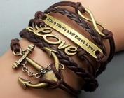 Friendship Gifts Infinity Bracelet Anchor Bracelet Love Charm Bracelet Antique Bronze Brown Korean Wax Cords Brown Leather 2426R