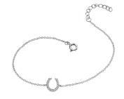 Elements Sterling Silver, Ladies, B4227C, Horse Shoe Clear Pave Cubic Zirconia Bracelet of Length 19 cm + 3 cm Extender