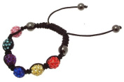 Macrame bracelet with shamballa style beads in multi colour 114233