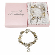 Juliana 21 21st Birthday Charm Bracelet Silver & Gold in Pink Gift Box