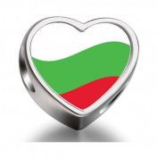 Soufeel Bulgaria Flag Heart Photo Charm Beads Fit Pandora Chamilia Biagi beads Charms Bracelet