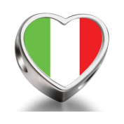 Soufeel Italy Flag Heart Photo Charm Beads Fit Pandora Chamilia Biagi beads Charms Bracelet