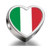Soufeel Italy flag Heart Photo Charm Beads Fit Pandora Chamilia Biagi beads Charms Bracelet