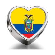 Soufeel Ecuador flag Heart Photo Charm Beads Fit Pandora Chamilia Biagi beads Charms Bracelet