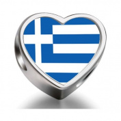 Soufeel Greece flag Heart Photo Charm Beads Fit Pandora Chamilia Biagi beads Charms Bracelet
