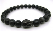 Mens Buddha Bracelet - Black Moonstone, Wrist Mala, Yoga Beads