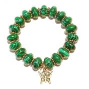 Malachite & Antique Gold Stretch Bracelet