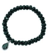 Elements Sterling Silver Ladies' B2934B Black Onyx Bead & Black Cubic Zirconia Drop Stretch Bracelet