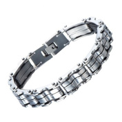 H+C Heavy-duty Stainless Steel Men..s Bike Chain Bracelet Jewellery for Man 21cm Bold and Chunky