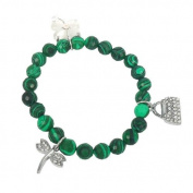Bracelet made of malachite and Charms