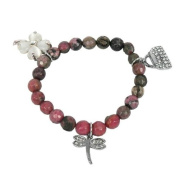 Bracelet made of rhodonite and Charms