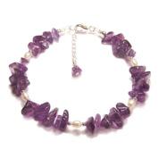 Amethyst purple gemstones and Pearl Sterling silver bracelet