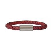 Dunabead® Red Leather Bracelet - Braided Leather Bracelet 6.00mm with Stainless Steel Clasp