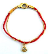 Amulet Gifts Threaded Gold Hamsa Bracelet on Red String Evil Eye Jewellery