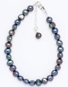 Silver & Pearl - Blue/Black Dyed Freshwater Pearl 19Cm Bracelet With Sterling Silver Clasp And 2.5Cm Extension Chain