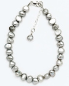 Silver & Pearl - Silver Dyed Freshwater Pearl 19Cm Bracelet With Sterling Silver Clasp And 2.5Cm Extension Chain