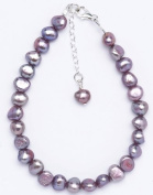 Silver & Pearl - Lilac Dyed Freshwater Pearl 19Cm Bracelet With Sterling Silver Clasp And 2.5Cm Extension Chain