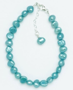 Silver & Pearl - Turquoise Dyed Freshwater Pearl 19Cm Bracelet With Sterling Silver Clasp And 2.5Cm Extension Chain