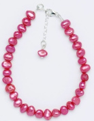 Silver & Pearl - Fuchsia Dyed Freshwater Pearl 19Cm Bracelet With Sterling Silver Clasp And 2.5Cm Extension Chain