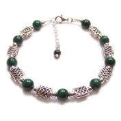 Malachite green gemstones and Celtic knotwork Sterling silver bracelet