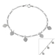 Sterling Silver Figaro Chain Bracelet with Dangling Heart Charms