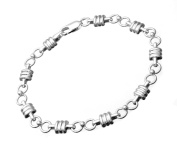 Bric-Link Sterling Silver Bamboo and Fig 8 Link Bracelet of 18.4cm