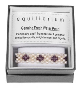 Purple Flower and Natural Pearl Bracelet