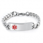 Bling Jewellery Stainless Steel Medical ID Identification Bracelet 20cm