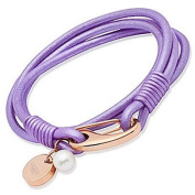 Unique Lilac Leather & Stainless Steel Rose Gold Plating Bracelet