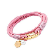 Unique Pink Leather & Stainless Steel Gold Plated Clasp Bracelet B76PI