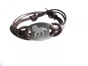 FREEDOM bracelet- horse symbol- engraved melchior pendant on leather cord