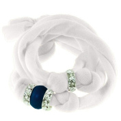 Ribbon bracelet made with. ELEMENTS - with three Rondelles and one Pearl Crystal Dark Lapis