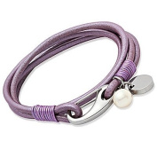 Unique Lilac Leather & Stainless Steel Bracelet B67LY-19