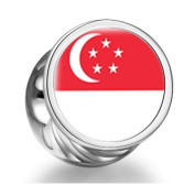 Singapore flag Cylindrical Photo Charm Beads Fit Pandora Chamilia Biagi beads charms fit pandora Bracelet