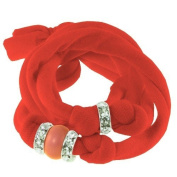 Ribbon bracelet made with. ELEMENTS - with three Rondelles and one Pearl Coral
