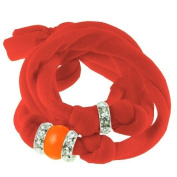 Ribbon bracelet made with. ELEMENTS - with three Rondelles and one Pearl Neon Orange