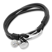 'Unique' Black Leather Stainless Steel & Crystal Ball Bracelet B152BL