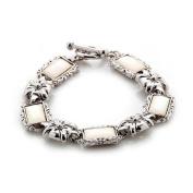 White Mother of Pearl Flower Design Rectangle Shell Link Toggle Bracelet