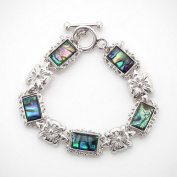 Mother of Pearl Flower Design Colourful Dark Green Rectangle Shell Link Toggle Bracelet