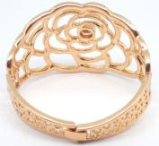 Flower Shaped Diamante Embellished Rose Gold Plated Bracelet