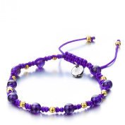 Shimla SH 910 Amethyst TS Bracelet with Gold Plated Brass Beads and Stainless Steel Shimla Tag